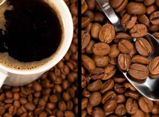 Cup of coffee and coffee beans