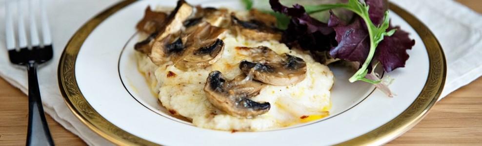 Plated Mushroom-Topped Parmesan Tilapia