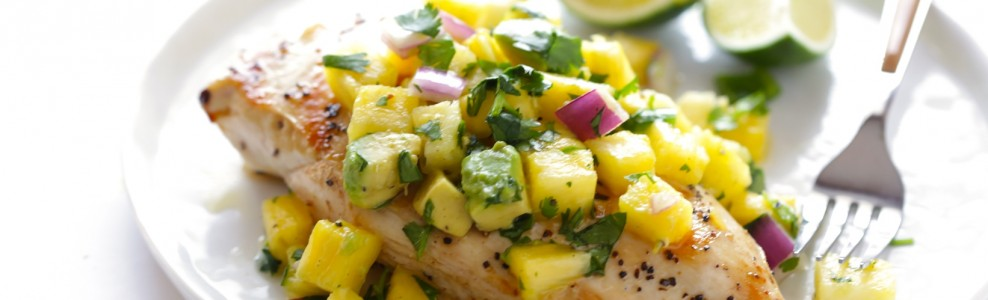 Plated Grilled Chicken with Pineapple Avocado Salsa