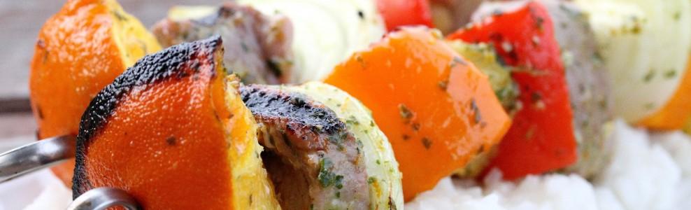 Caribbean Pork Kabobs and Coconut Rice