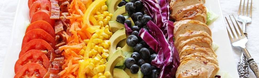 Ingredients for Grilled Chicken Rainbow Cobb Salad