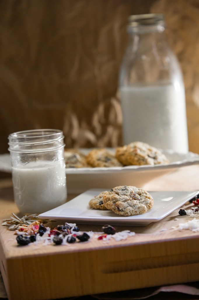 Plated Chewy-Crispy Almond Coconut Cookies and Milk in a Jar