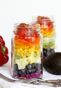Mason jar grilled chicken rainbow cobb salad