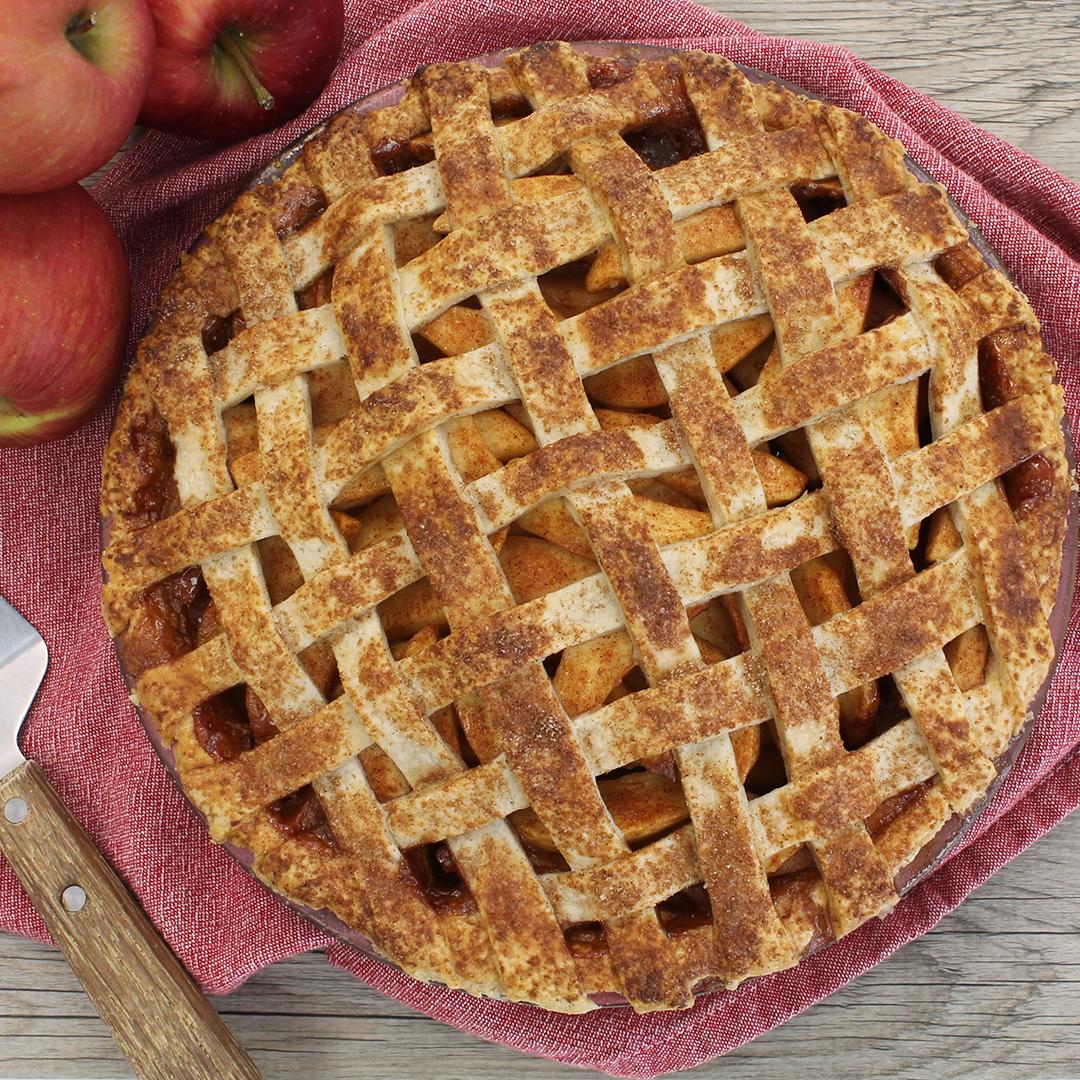 Apple pie with a lattice top crust.