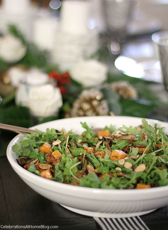 Squash and baby kale salad with warm bacon dressing.