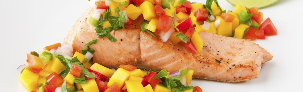 Grilled salmon with mango salsa.
