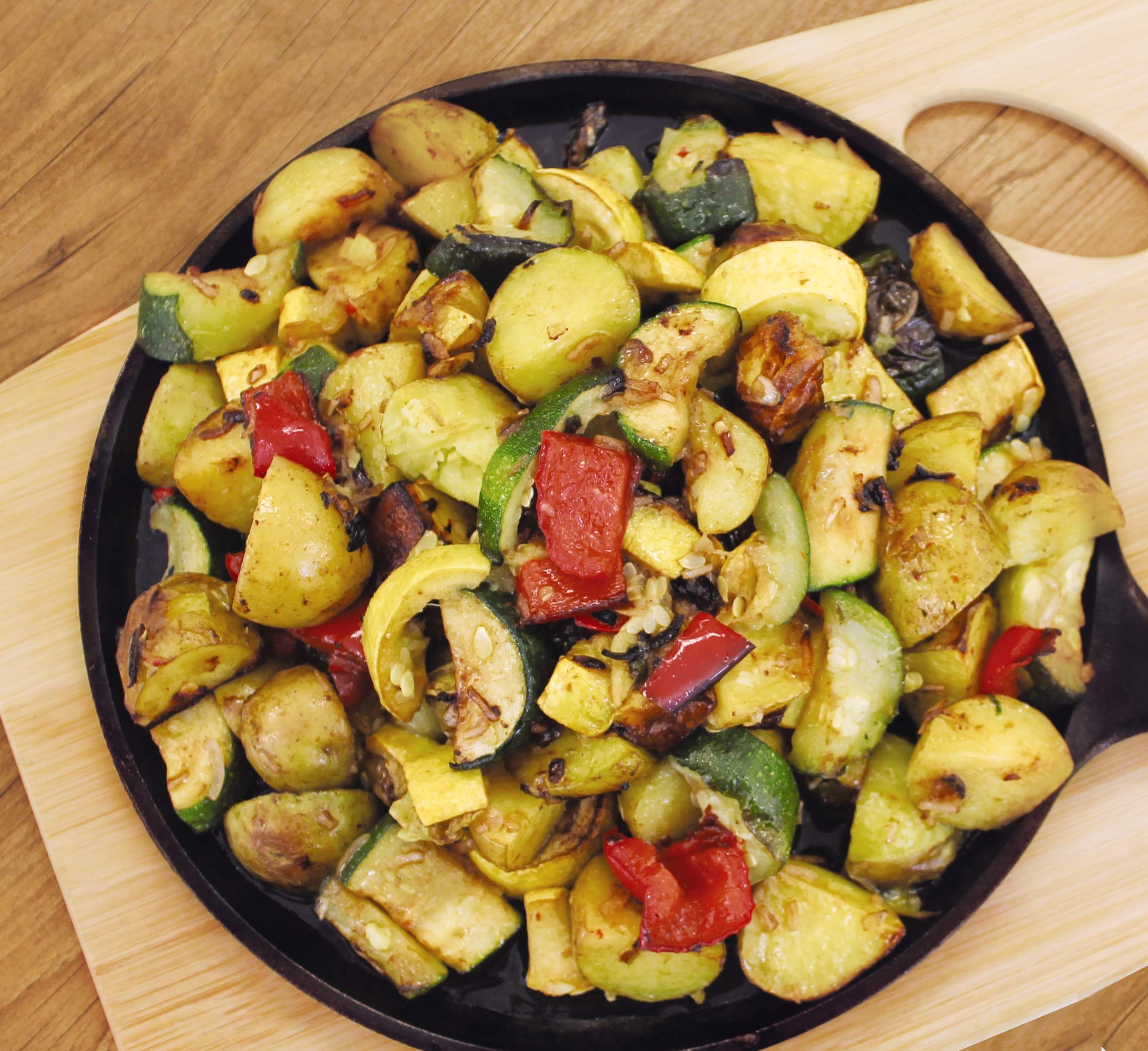 Summer grilled potatoes and mixed veggies.
