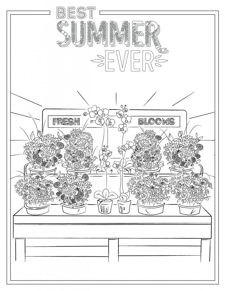 Printable coloring sheet featuring flowers.