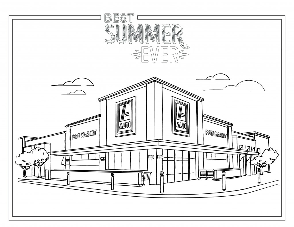 Printable coloring sheet featuring an ALDI store.