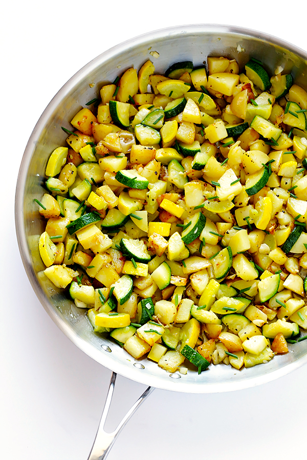 Sauteed zucchini and yellow squash with herbs.