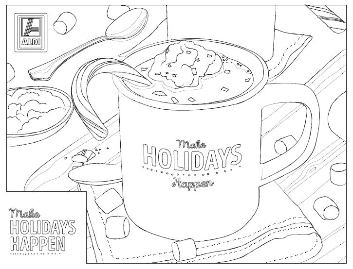 Printable coloring sheet with hot cocoa and peppermint.