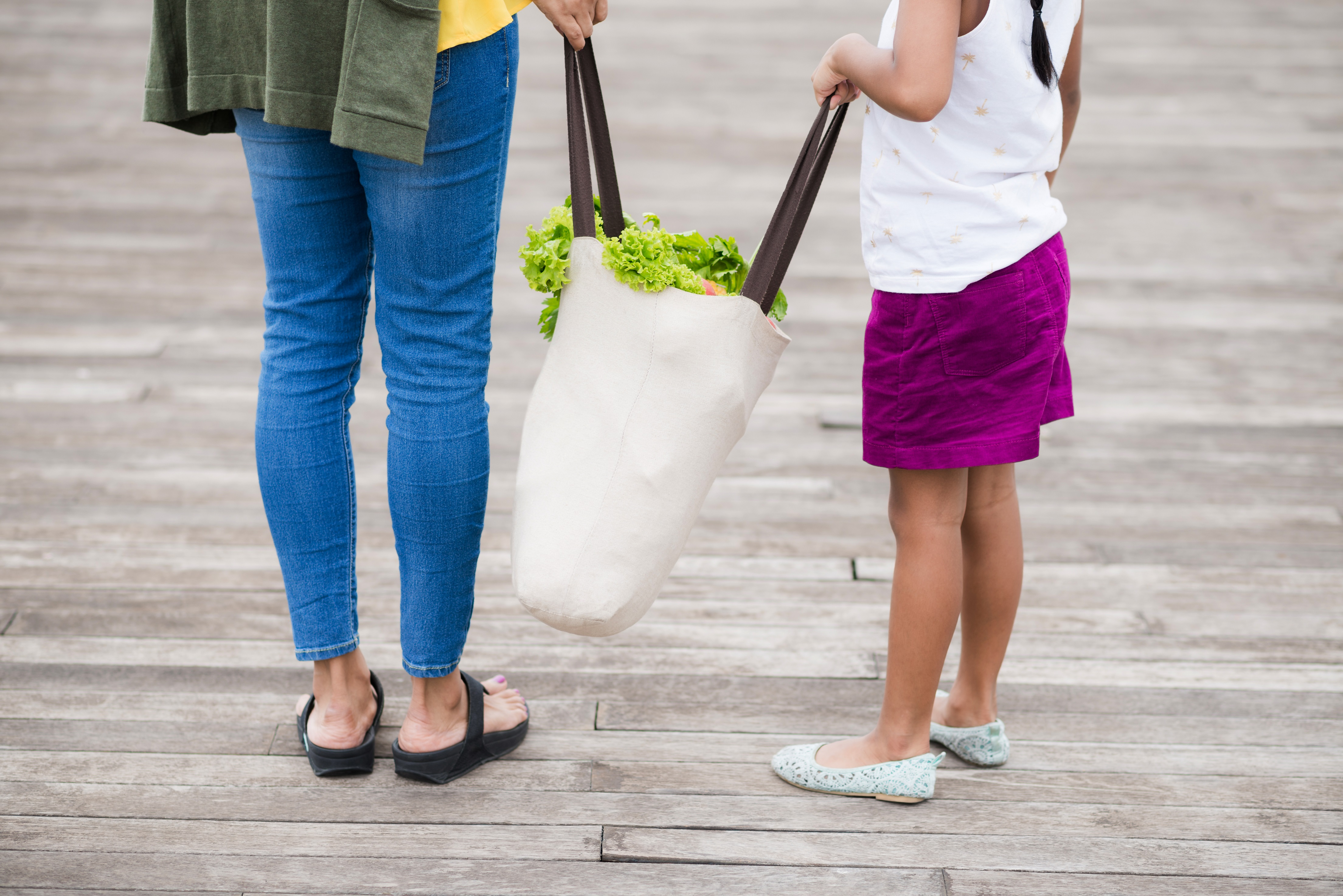 Image of mother and daughter holding a grocery bag with produce.