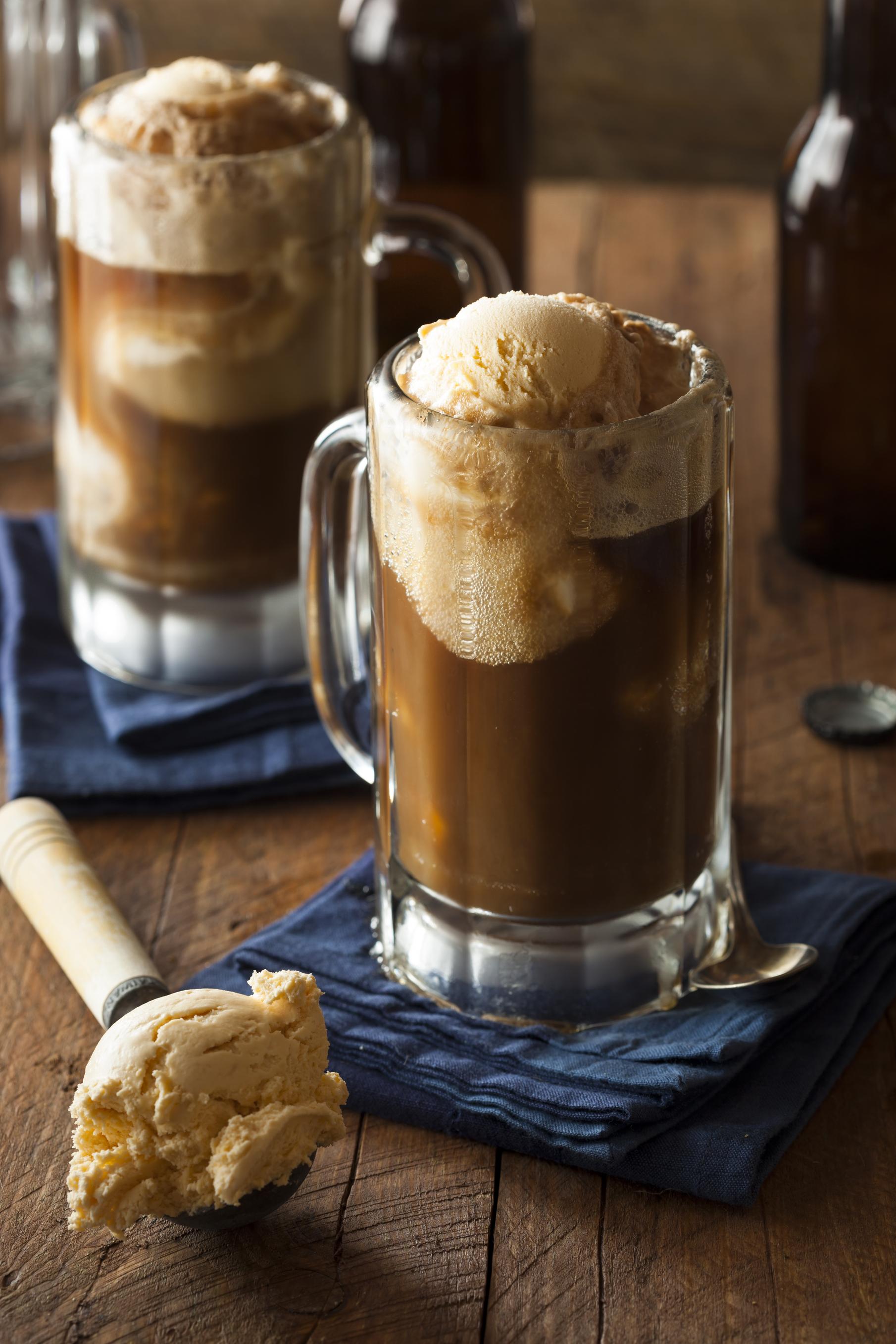 Root beer float with vanilla ice cream.