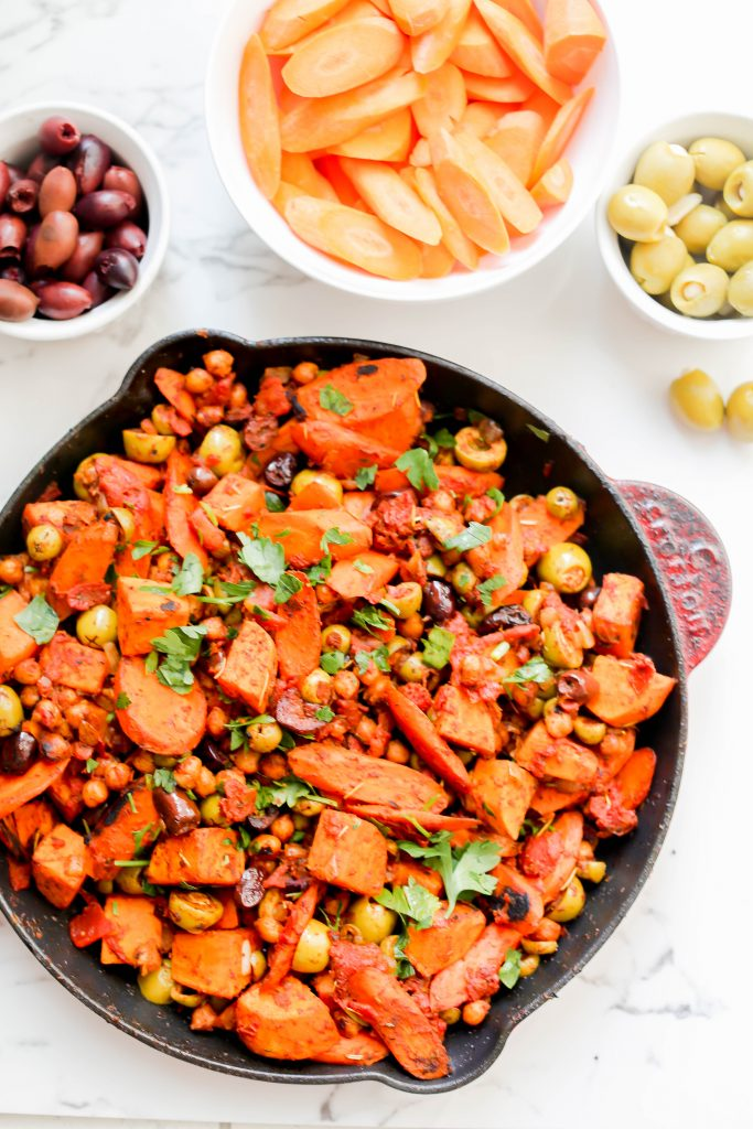 Spiced Sweet Potatoes and Carrots in a skillet.