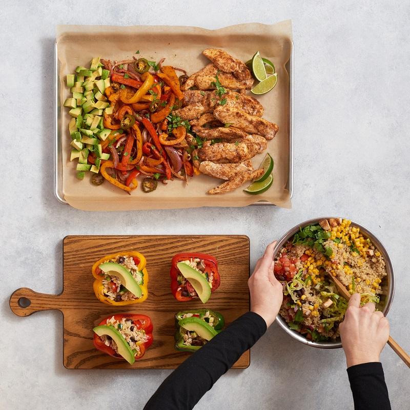 Meal prepping Chicken Fajita Sheet Pan, Southwest Stuffed Peppers and Quinoa Burrito Bowl.