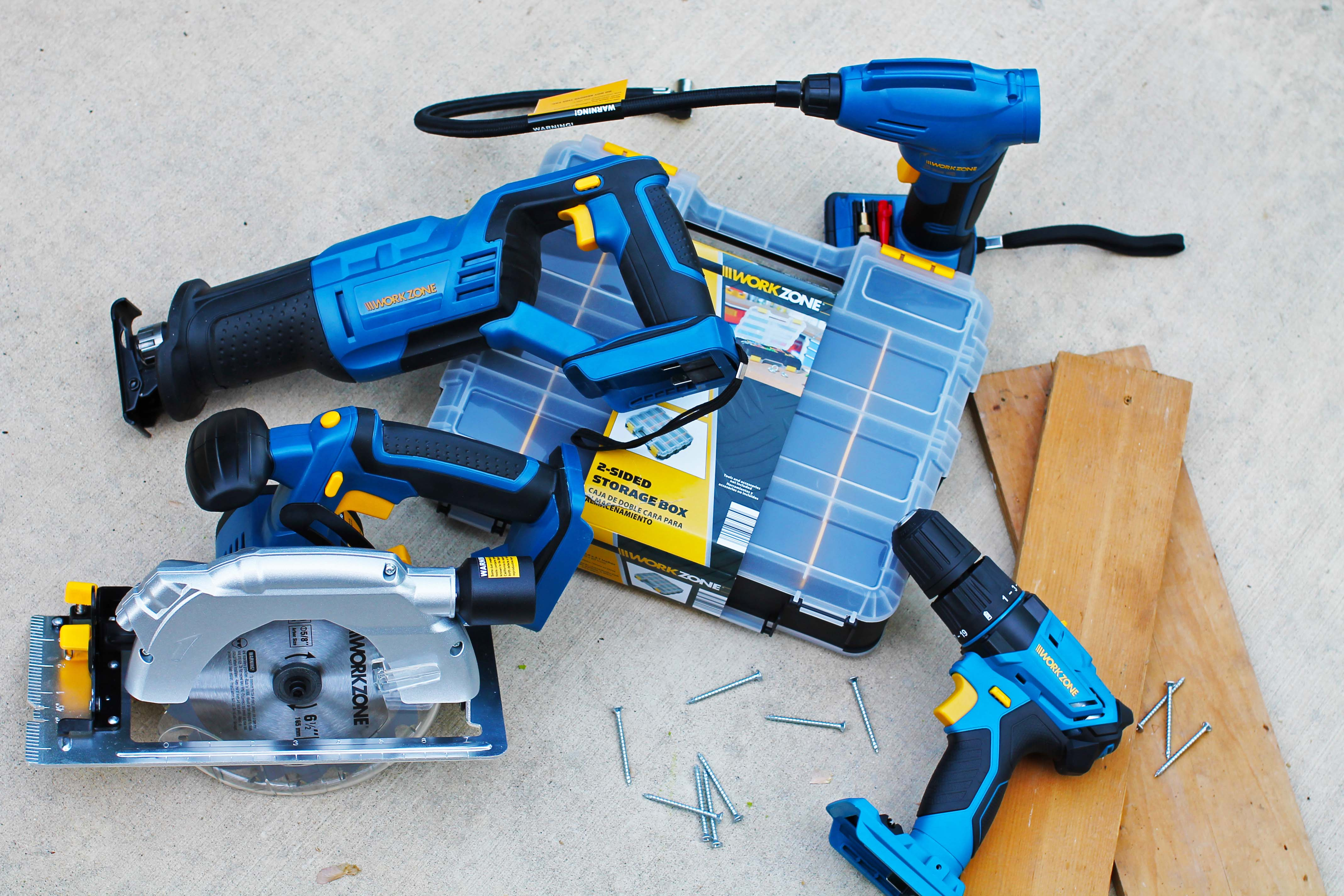 Assorted WorkZone power tools.