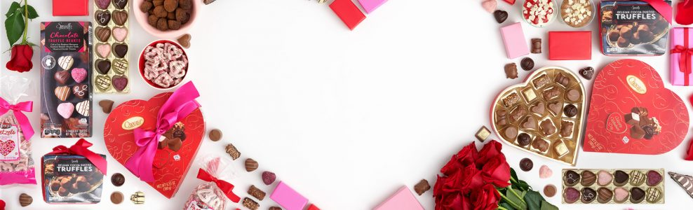 An array of Valentines day products forming the shape of a heart.