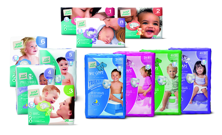 ALDI Little Journey diaper and training pants packaging